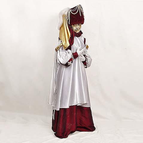 Венецианский костюм белый-бордо